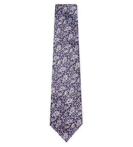 DUCHAMP Floral silk tie (Purple