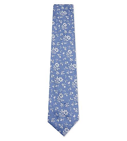 DUCHAMP Floral pattern silk tie (Blue
