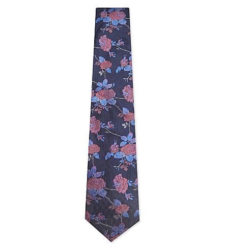 DUCHAMP Elegant floral silk tie (Navy
