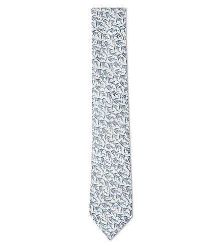 DUCHAMP LONDON Lavender sprig silk tie (Blue