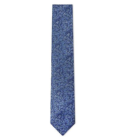 DUCHAMP LONDON Ditsy floral silk tie (Blue