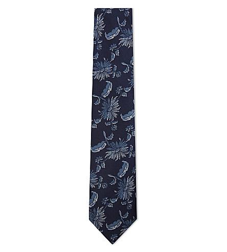DUCHAMP LONDON Daisy chain silk tie (Blue