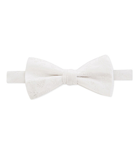 DUCHAMP LONDON Floral silk bow tie (White