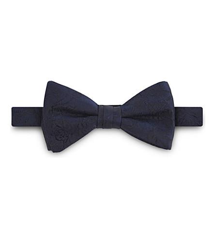 DUCHAMP Floral silk bow tie (Navy