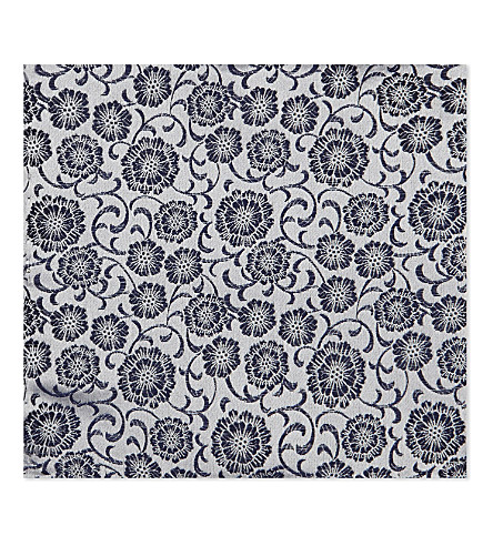 DUCHAMP Floral silk pocket square (White
