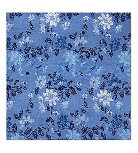 DUCHAMP Floral silk pocket square (Blue