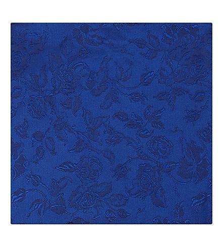 DUCHAMP Tonal floral silk pocket square (Blue