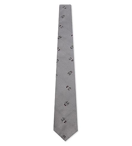 THOM BROWNE Shoe print silk tie (Grey