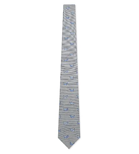 THOM BROWNE Sausage dog silk tie (Mid+grey