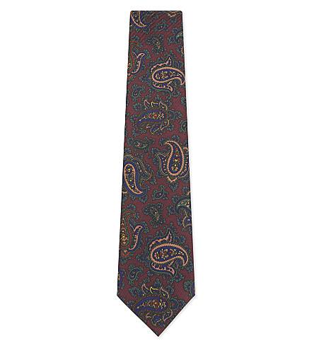 BIGI CRAVATTE Paisley silk tie (Bordeaux