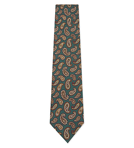 BIGI CRAVATTE Paisley silk tie (Green