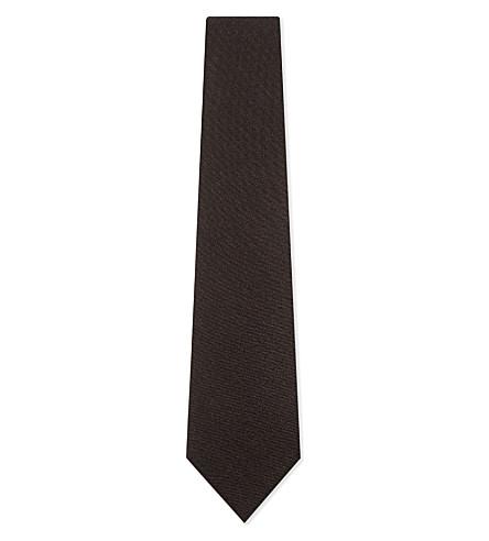 BIGI CRAVATTE Brush twill wool tie (Brown