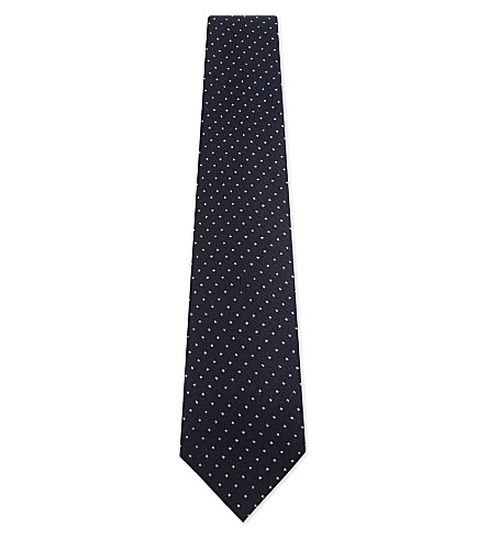 BIGI CRAVATTE Pindot wool tie (Brown