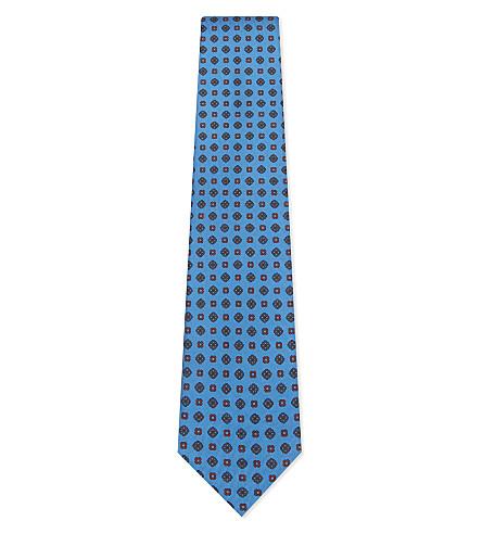 BIGI CRAVATTE Geometric tile print silk tie (Blue