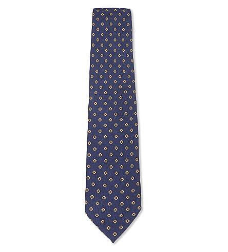 BIGI CRAVATTE Floral print wool tie (Blue
