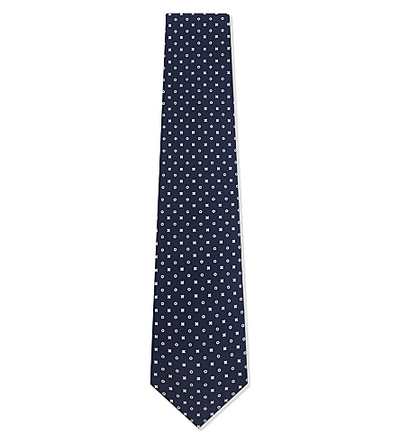 BIGI CRAVATTE Noughts and crosses print silk tie (Navy