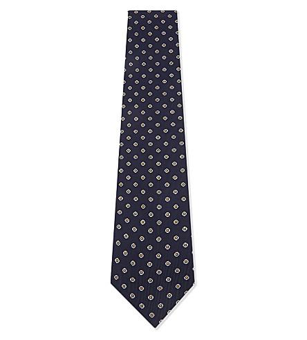 BIGI CRAVATTE Twill floral print silk tie (Navy