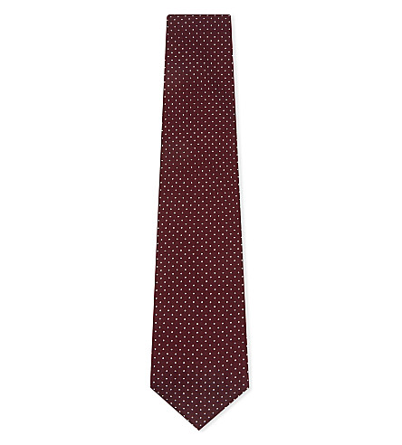 BIGI CRAVATTE Micro-dot silk tie (Burgundy