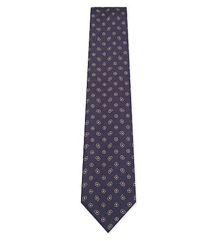 BIGI CRAVATTE Paisley jacquard silk tie (Navy