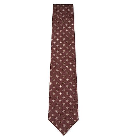 BIGI CRAVATTE Paisley jacquard silk tie (Bordeaux