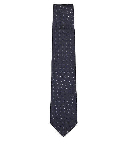 BIGI CRAVATTE Double-dot silk tie (Black