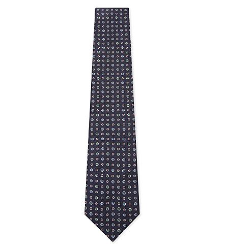 BIGI CRAVATTE Jacquard floral silk tie (Navy