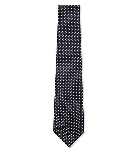 BIGI CRAVATTE Jacquard square print silk tie (Navy