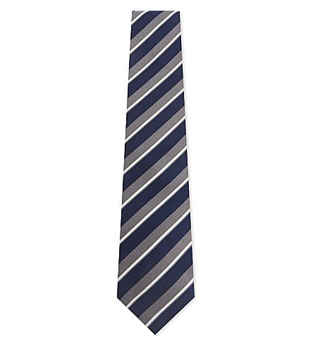 BIGI CRAVATTE Multi-stripe silk and cotton tie (Grey