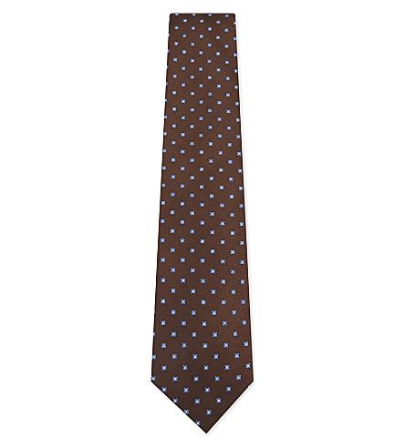 BIGI CRAVATTE Floral silk tie (Brown