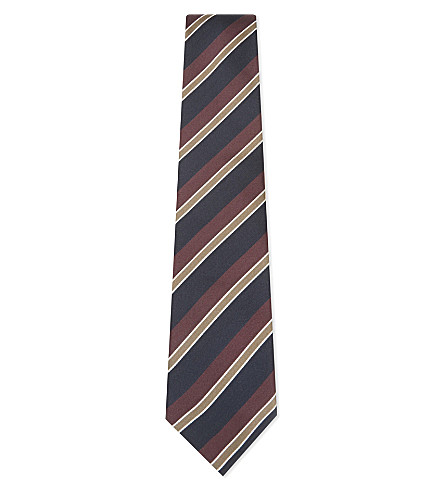 BIGI CRAVATTE Striped silk tie (Navy/brown