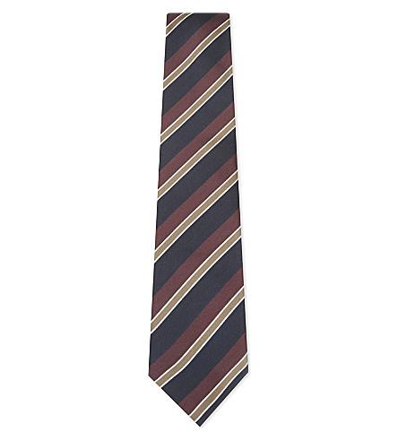 BIGI CRAVATTE Striped silk tie (Navy/brown