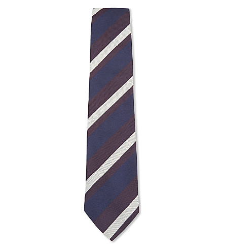 BIGI CRAVATTE Striped silk tie (Light+blue