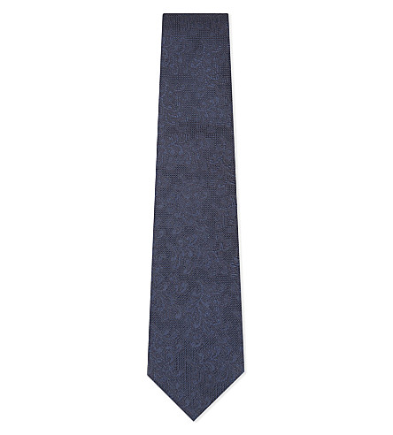 BIGI CRAVATTE Brushed floral silk tie (Navy