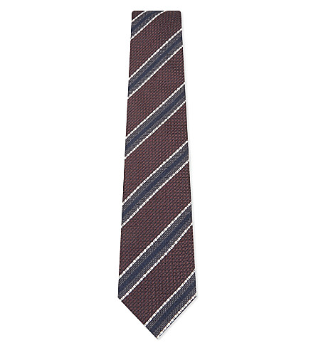 BIGI CRAVATTE Knitted striped silk tie (Bordeaux