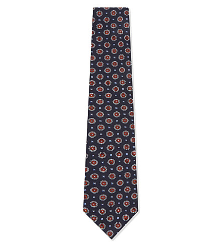 BIGI CRAVATTE Jacquard medal print silk tie (Navy