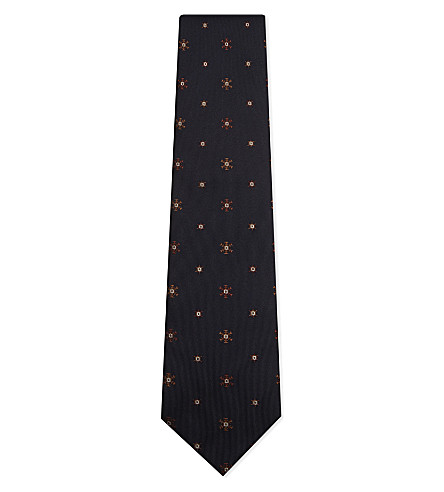 TIE YOUR TIE Snowflake silk tie (Navy