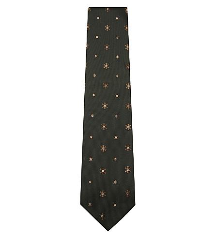 TIE YOUR TIE Snowflake silk tie (Green