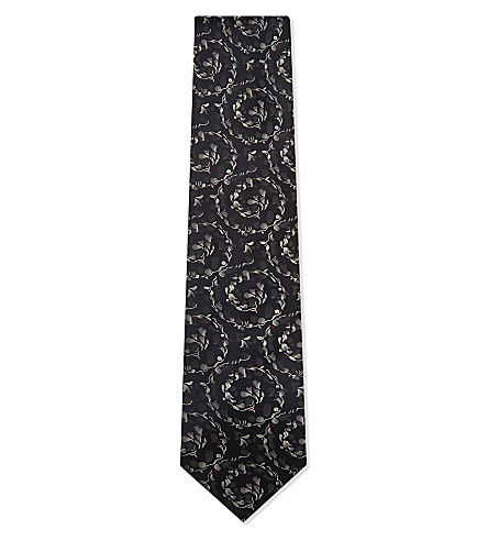 TIE YOUR TIE Sprial flower silk tie (Navy