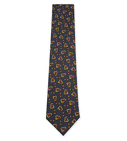 TIE YOUR TIE Mini paisley motif silk tie (Gold+blue+red