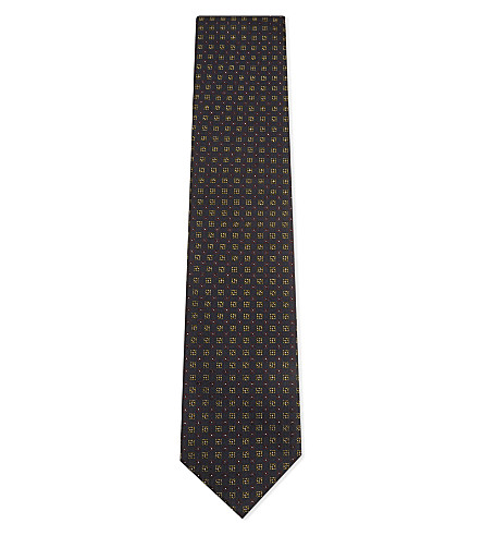 TIE YOUR TIE Jacquard square pattern tie (Navy