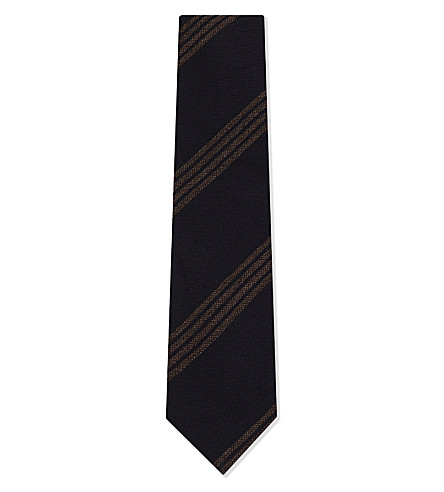 TIE YOUR TIE Four-stripe silk-wool tie (Charcoal+brown
