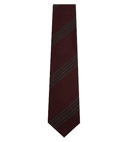 TIE YOUR TIE Four-stripe silk-wool tie (Brown+gold+grey