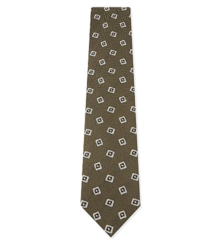 TIE YOUR TIE Tonal square silk-wool tie (Olive