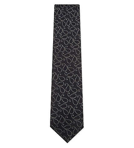 TIE YOUR TIE Outlined paisley silk tie (Navy+silver