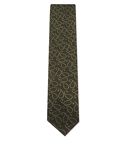 TIE YOUR TIE Outlined paisley silk-wool blend tie (Olive