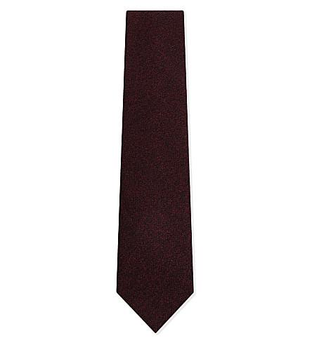 TIE YOUR TIE Herringbone wool tie (Burgundy
