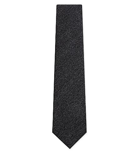 TIE YOUR TIE Herringbone wool tie (Charcoal