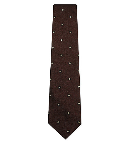 TIE YOUR TIE Pentagon pattern silk tie (Burgundy