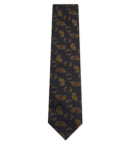 TIE YOUR TIE Metallic paisley silk tie (Navy+gold