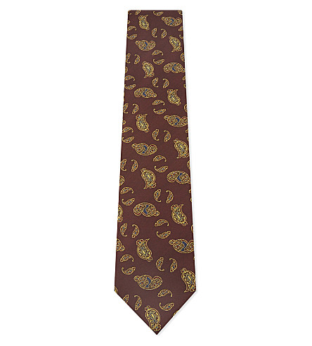 TIE YOUR TIE Metallic paisley silk tie (Red+gold